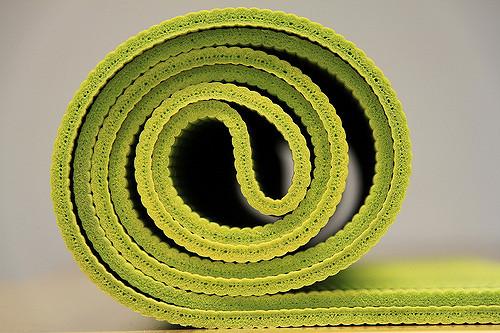 unrolled yoga mat